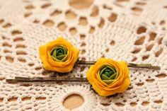 Yellow and Green flowers Ranunculus hair clip  free by eteniren, $18.00