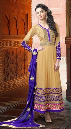 $141.06 Brown Faux Georgette Embroidery with Stone Work Anarkali Suit 25857