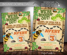 Bug Birthday Invitation, Insect Birthday Invitation, Bug Party Invitation, Insect Party Invitation, Instant Download, Editable PDF #411 by PerfectPrintableCo on Etsy