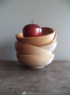 Vintage Bowls Wood Japan Home & Living Kitchen Dining Serving Bowl Prep Entertaining Home Decor Foodie Gift Idea (20.00 USD) by SPARKLESandSASS
