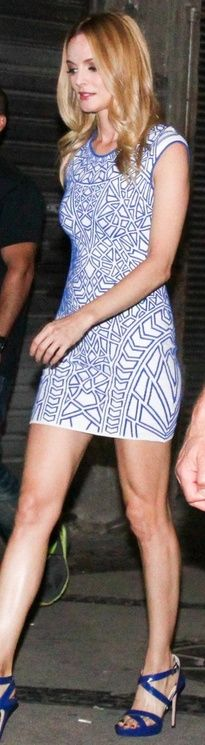 Who made Heather Graham's white print dress and blue platform sandals that she wore in Rio de Janeiro? Dress – ONE by RVN Geo  Shoes – Jimmy Choo