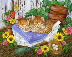 The cat is sleeping DIY bead embroidery kit beaded painting craft set nursery decor, gift, hobby, embroidery set Diy Bead Embroidery, Embroidery Kits, Animal Paintings, Animal Drawings, Pretty Cats, Cute Cats, Image Chat, Gatos Cats, Ginger Cats