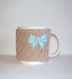 Knitted Mug Cozy  Tan with Blue Satin Heart by KatysKnitKnacks, $7.00