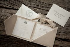 Oh So Beautiful Paper: Joanie + Todd's Romantic Linen and Lace Wedding Invitations