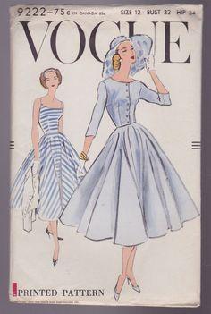 Vogue Sewing Pattern 9222 Sz 12 Vtg Sundress Jacket Rockabilly Factory Fold 50's