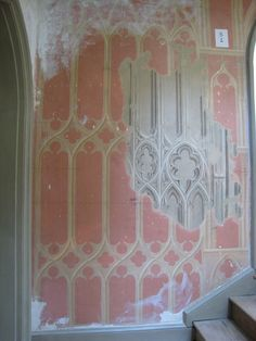 Modern 'gothic' wallpaper at Strawberry Hill, Twickenham. The wallpaper on the staircase painted in imitation of fretwork dates from the Gothic House, Victorian Gothic, Strawberry Hill House, Painted Staircases, Gothic Wallpaper, Modern Gothic, Fancy Houses, Gothic Architecture, Medieval Art