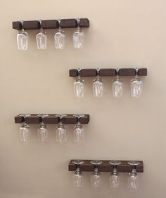 Handmade wall-mount wine glass rack is made of one solid piece of individually selected western cedar wood carefully chosen for its unique grain