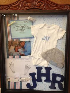 S baby shadow box baby frame, baby boy kamers, babykamer, baby he. Baby Boy Rooms, Baby Boy Nurseries, Newborn Shadow Box, Toddler Boy Photography, Baby Announcement Pictures, Baby Frame, Baby Swaddle Blankets, Baby Memories, Elephant Nursery