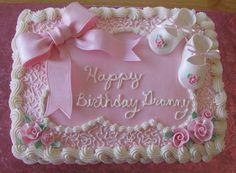 Girl Baby Shower bow, booties and roses made from gumpaste. Tortas Baby Shower Niña, Torta Baby Shower, Girl Shower Cake, Baby Shower Sheet Cakes, Bolo Laura, Super Torte, Sheet Cake Designs, Girl Cakes, Buttercream Cake