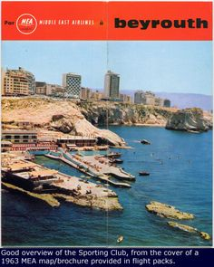 Cover of Middle East Airlines map/brochure about Beirut, 1963, showing Beirut Sporting club.