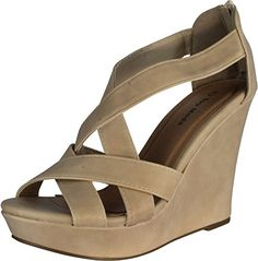 916530a41d4 Top Moda Ella-18 Women s Gladiator Wedge Heel Sandals