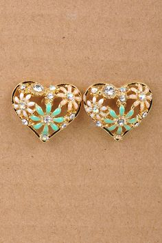 Jeweled Heart Earrings. Available now at TheFashionHouse.biz !!