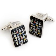 Go high tech with this pair of Dashing iPhone Cufflinks. Whether you like to be on the cutting edge of technology or fashion, these cufflinks make a smart addition to any wardrobe. These cufflinks will cure your iPhone fix during your wedding when the real thing is safely tucked away. Packaged in an attractive personalized silver-tone case, it features the name of the recipient.