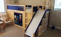 Loft Bed With Slide Diy - Several luxuries are provided by living in urban areas: you are able to work at your dream firm, Bed With Slide, Motto, Bunk Beds, Mattress, New Homes, Home And Garden, Luxury, Bedroom, Furniture