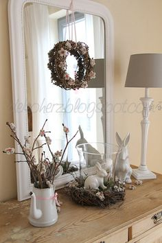 Easter Decoration Love the White on White look Easter Table Decorations, Easter Decor, Easter Season, Easter Traditions, Hoppy Easter, Holidays And Events, Easter Crafts, Seasonal Decor, Mirror