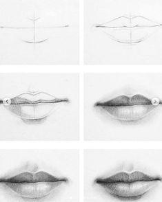Pencil Art Drawings, Cool Art Drawings, Art Drawings Sketches, Easy Drawings, Drawings Of Mouths, Drawings Of Lips, Pencil Sketching, Sketching Tips, Illustration Art Drawing