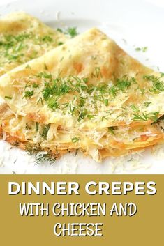 Easy Crepe Recipe With Chicken And Cheese – Lavender & Macarons Looking for chicken dinner recipes for family? Try my Savory Dinner Crepes with chicken and cheese. So delicious and satisfying. Great make ahead lunch recipe too! Crepes And Waffles, Savory Crepes, Pancakes, Easy Crepe Recipe, Crepe Recipes, Crepe Sale, Chicken And Mushroom Crepe Recipe, Dinner Crepes, Lunch Recipes