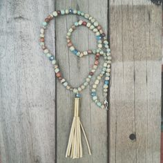 Gemstone Tassel Necklace Beaded necklace Bullet por JoCoCollection