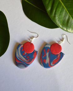 Funky colorful earrings Pink blue statement earrings Handmade