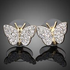 18K Gold Plated Crystal Butterfly Earrings | Jewelryvo - Your jewelry store