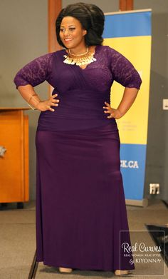 Nakitende, model for SexyPlus Clothing,  shows off her shape in this body con, plus size purple Soiree Evening Gown (photographed by Dusko Jocic). www.kiyonna.com  #Kiyonna #plussize #purpledress