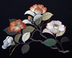 Camellias , 2011 silk and metallic threads on black nishijin, design: 8 x 11 in. Design © Japanese Embroidery Center Embroidered by Susann. Chinese Embroidery, Sashiko Embroidery, Learn Embroidery, Embroidery Patches, Machine Embroidery, Embroidery Designs, Ribbon Embroidery, Embroidery Patterns, Chinoiserie