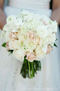 Big, Beautiful, Round, Hand Tied Bridal Bouquet Composed Of White Hydrangea, White Mini Callas, Ivory Roses, White Ranunculus, & Creamy Blush Sahara Roses****