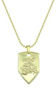 Gargantilha folheada a ouro c/ a medalha de São Jorge (Salve Jorge) Código: G1120
