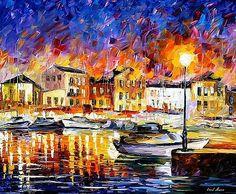 Greece 2 - PALETTE KNIFE Oil Painting On Canvas By Leonid Afremov by Leonid Afremov