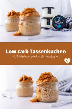 Low carb Tassenkuchen mit Bratapfel Topping | Koch mit Herz Low Carb Dessert, Food Styling, Food Photography, Cereal, Muffins, Cupcakes, Breakfast, Healthy Desserts, Healthy Recipes