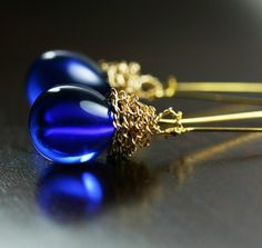 Blue Earrings Cobalt Electric Blue Sapphire by SimplySleek on Etsy, $20.00