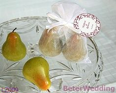 The Perfect Pair   Pear Candles in Sheer Organza Bag LZ009 party Favors, event Gifts, Wedding Souvenirs