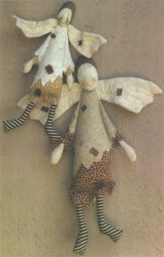 """Tillie the Tattered Angel  by Sally Lampi.  19"""" tall; 13"""" tall - Website has a kajillion art dolls and links and patterns:  http://clothdollpatterns.com"""
