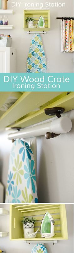 DIY Ironing Station made with Wood crate and hooks. EASY! Great for craft room or laundry room organization. #BEHRBox #ad