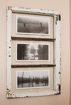 ... Ive been giving old windows a second life by using them to frame my photography. They dress up a room with a country rustic style.  Each windows style and color inspire its own series of photos. The photographs in this series are landscapes found in the beautiful municipality of Mille-Isles, where I live in the Lower Laurentians.  These photos are printed on Black and White photographic paper.  PHOTO DIMENSIONS: 13 x 7 inches WINDOW DIMENSIONS: 20 inches wide x 33.5 inches high x 2…