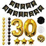 Ballons Happy Birthday 30ème Anniversaire, Fournitures & Décorations par Belle Vous - Set tout-en-un - Gros Ballon Aluminium 30 Ans - Ballon de Décoration en Latex Or, Blanc & Noir - Décors Adaptés pour Tous les Adultes