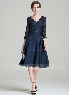 A-Line/Princess V-neck Knee-Length Zipper Up Sleeves 3/4 Sleeves No 2016 Dark Navy Spring Summer Fall General Plus Chiffon Lace Mother of the Bride Dress