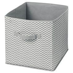 InterDesign Chevron Fabric Foldable Nursery Storage Cube - Gray/Cream, Large : Target