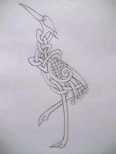 Celtic Crane tattoo outline by Tattoo-Design.deviantart.com on @deviantART
