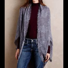 Anthropologie garden flower kimono blue gray new 60 inches wide, viscose material. Brand new Anthropologie Accessories Scarves & Wraps