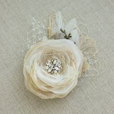 Rustic hair piece Bridal hair flower Wedding hair by LeFlowers