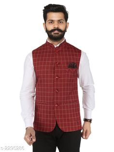 Ethnic Jackets Stylish Cotton Viscous Blend Printed Ethnic Jacket Fabric: Cotton Viscous Blend Sleeves: Sleeves Are Not Included Size: 36 in 38 in 40 in 42 in 44 in (Refer Size Chart) Length: (Refer Size Chart) Type: Stitched Description: It Has 1 Piece of Men's Ethnic Jacket Pattern: Checkered Country of Origin: India Sizes Available: 50, 36, 38, 40, 42, 44, 46 *Proof of Safe Delivery! Click to know on Safety Standards of Delivery Partners- https://ltl.sh/y_nZrAV3  Catalog Rating: ★4.2 (349)  Catalog Name: Men's Stylish Cotton Viscous Blend Printed Ethnic Jackets Vol 1 CatalogID_306072 C66-SC1202 Code: 166-2295286-