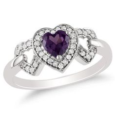 Heart-Shaped Lab-Created Alexandrite and 1/8 CT. T.W. Diamond Ring in 10K White Gold - Zales
