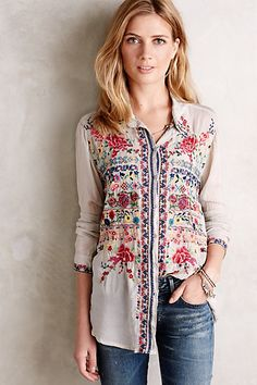 ♒ Enchanting Embroidery ♒ embroidered Hersilia Buttondown | anthropologie.com