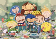 Illustration vectorielle de personnages de jeux vidéo devenus vieux jouant à la console.
