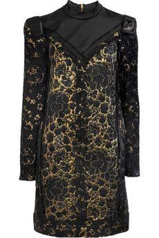 Lanvin Satin-trimmed floral brocade dress | THE OUTNET