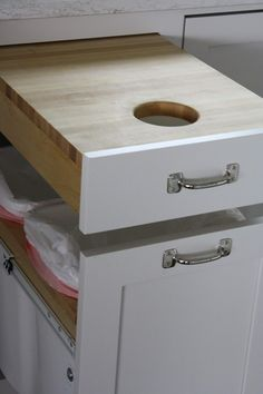 cutting board and trash can- genius