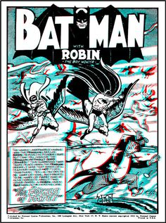 3-D Comic Books - 3dfilmarchive Robin The Boy Wonder, 3d Poster, 3d Pictures, Retro Advertising, Batman And Superman, Panel Art, Fun At Work, Dark Knight, Black And White Photography