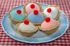 Crochet Pattern for Cherry Bakewells / Cakes - Play Food, Toy Food, Crochet Food on Etsy, $3.38