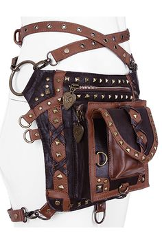 Restyle Steampunk Studded Holster Belt Multi Function Bag Brown   RE-ST-HOLSTER- 8ddf7d472e